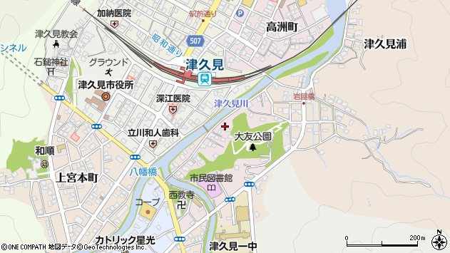 大分県津久見市大友町8周辺の地図