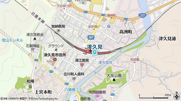 大分県津久見市中央町1周辺の地図