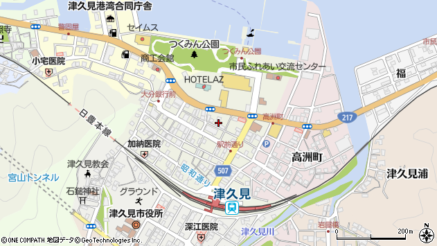 大分県津久見市中央町27周辺の地図
