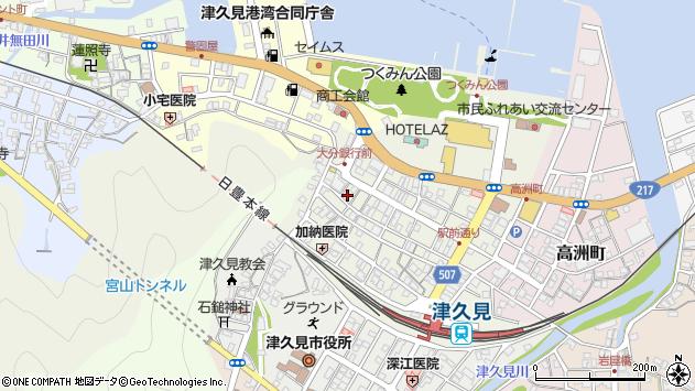 大分県津久見市中央町14周辺の地図