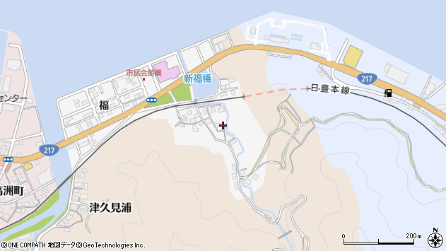 大分県津久見市津久見浦3623周辺の地図