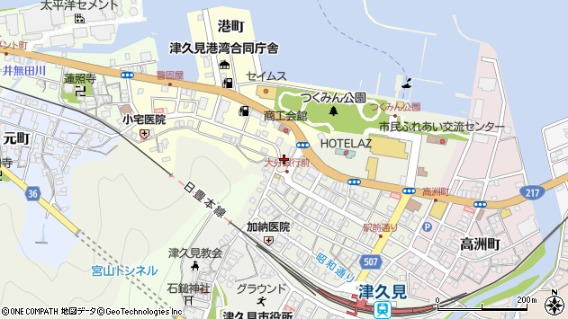 大分県津久見市中央町25周辺の地図