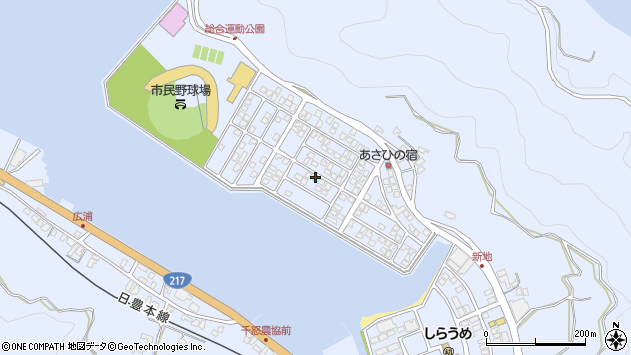 大分県津久見市千怒5209周辺の地図