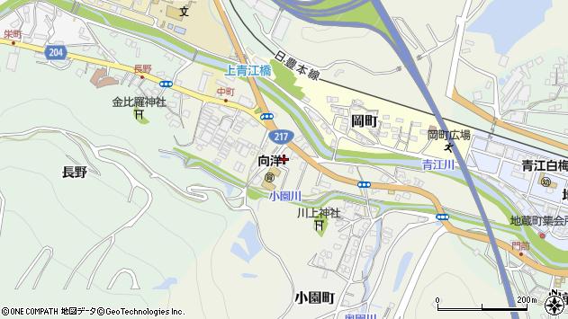 大分県津久見市中町周辺の地図