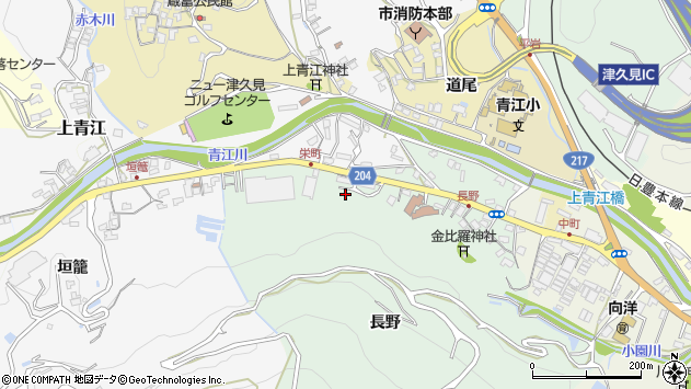 大分県津久見市上青江長野周辺の地図
