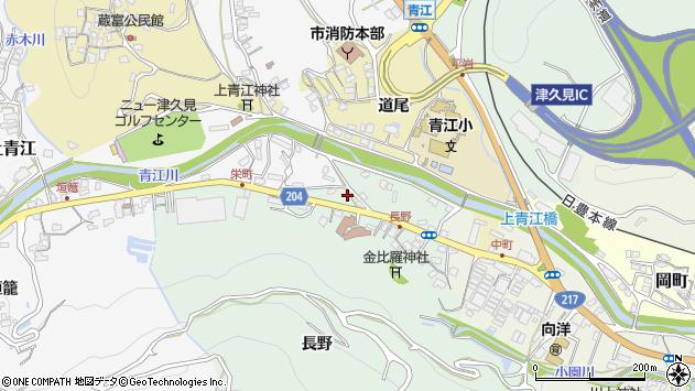 大分県津久見市上青江周辺の地図