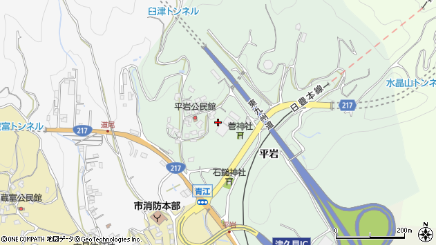 大分県津久見市上青江平岩周辺の地図