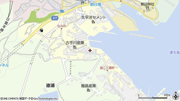 大分県津久見市徳浦周辺の地図
