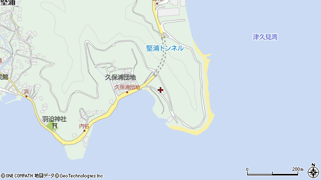 大分県津久見市堅浦1323周辺の地図