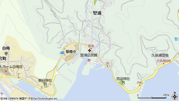 大分県津久見市堅浦315周辺の地図