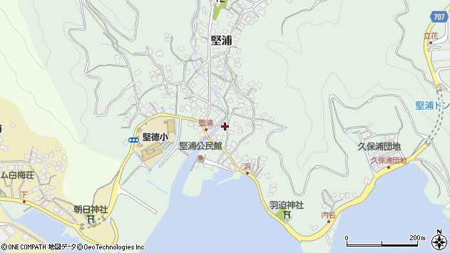 大分県津久見市堅浦周辺の地図