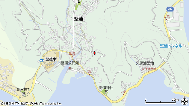 大分県津久見市堅浦970周辺の地図