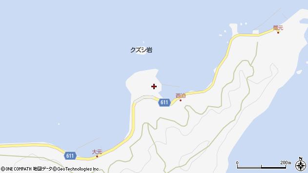 大分県津久見市四浦西泊周辺の地図
