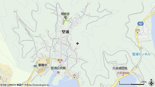 大分県津久見市堅浦花崎周辺の地図