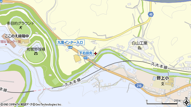 大分県玖珠郡九重町右田1305周辺の地図