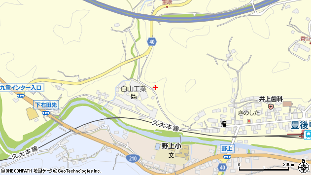 大分県玖珠郡九重町右田1044周辺の地図
