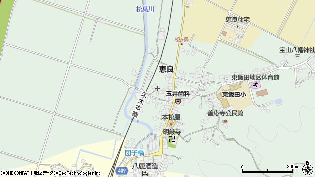 大分県玖珠郡九重町恵良404周辺の地図