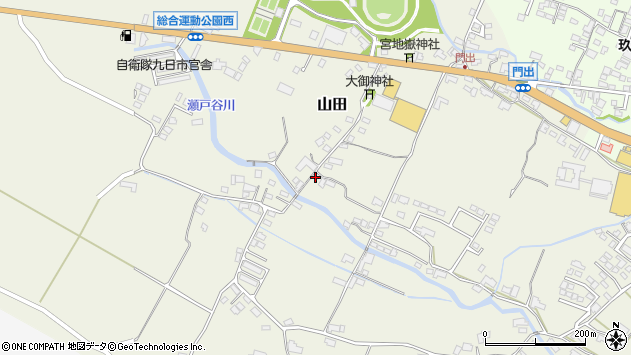 大分県玖珠郡玖珠町山田615周辺の地図