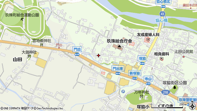 大分県玖珠郡玖珠町塚脇160周辺の地図