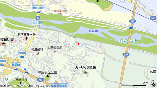 大分県玖珠郡玖珠町塚脇401周辺の地図