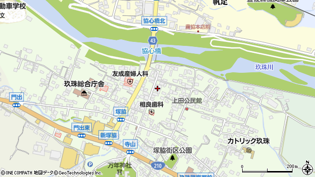 大分県玖珠郡玖珠町塚脇343周辺の地図