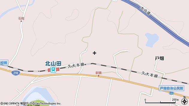 大分県玖珠郡玖珠町戸畑1527周辺の地図