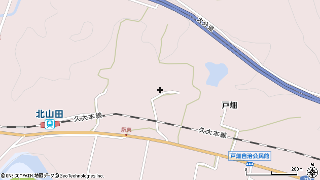 大分県玖珠郡玖珠町戸畑1502周辺の地図
