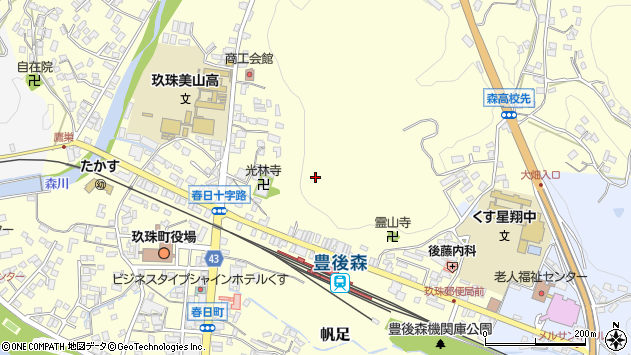 大分県玖珠郡玖珠町帆足平周辺の地図