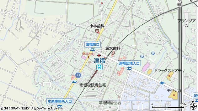 福岡県久留米市津福本町周辺の地図