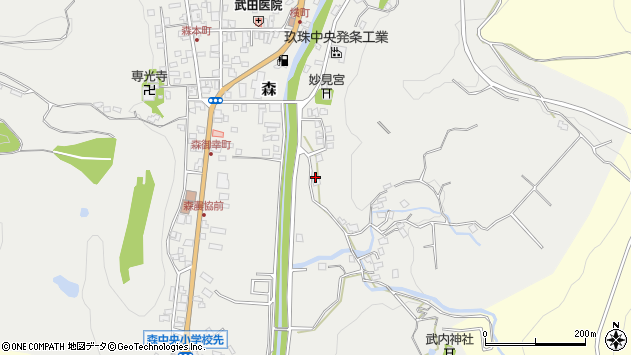 大分県玖珠郡玖珠町森225周辺の地図
