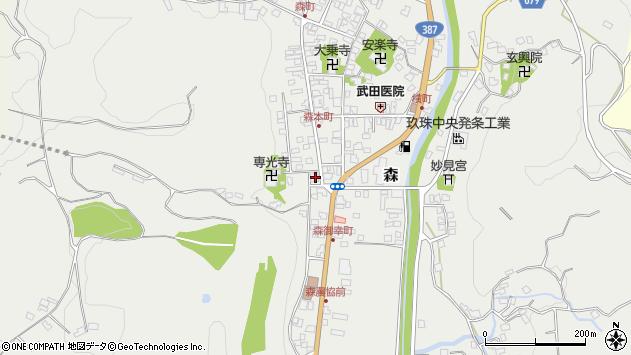 大分県玖珠郡玖珠町森1040周辺の地図
