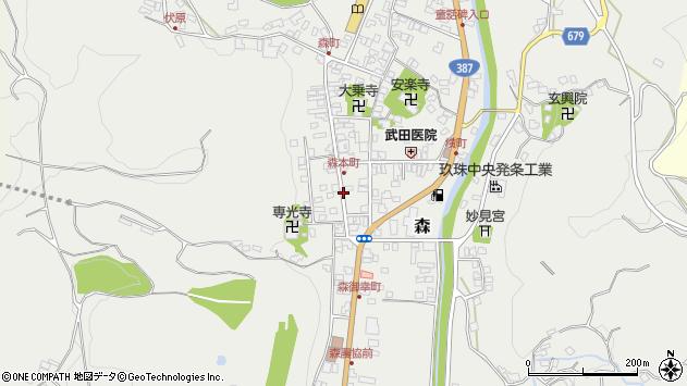 大分県玖珠郡玖珠町森下町周辺の地図