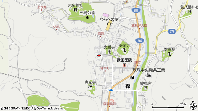 大分県玖珠郡玖珠町森1070周辺の地図