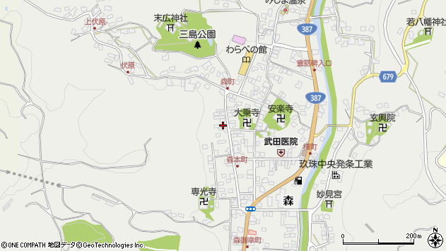 大分県玖珠郡玖珠町森1072周辺の地図