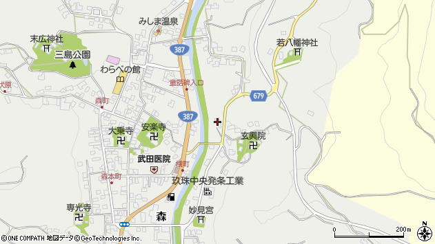 大分県玖珠郡玖珠町森557周辺の地図