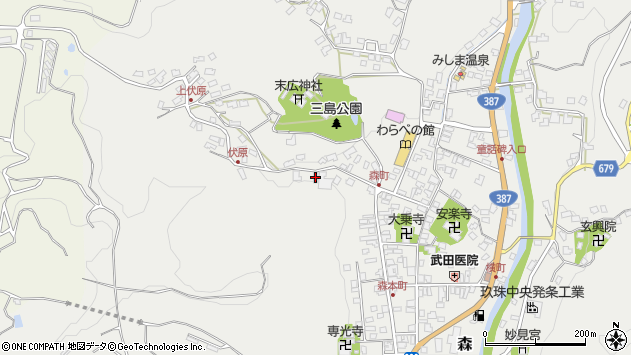 大分県玖珠郡玖珠町森905周辺の地図