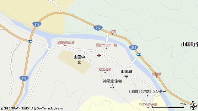 大分県中津市山国町守実周辺の地図