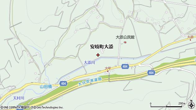 大分県国東市安岐町大添大平周辺の地図
