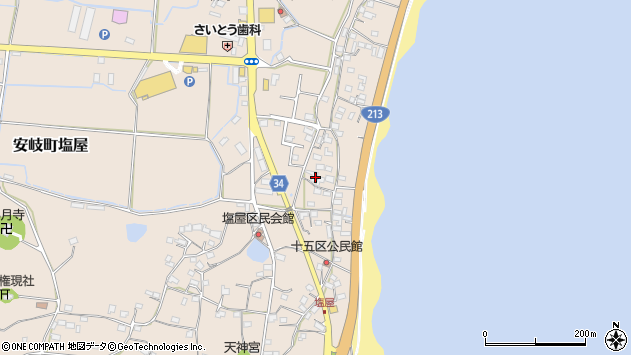 大分県国東市安岐町塩屋1645周辺の地図
