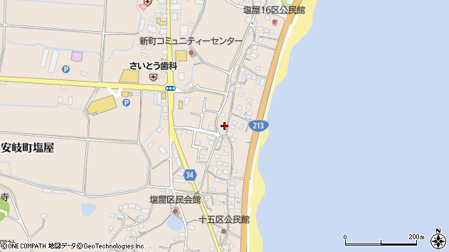 大分県国東市安岐町塩屋1674周辺の地図