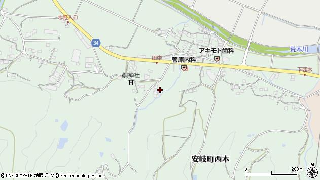 大分県国東市安岐町西本824周辺の地図