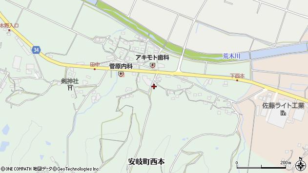 大分県国東市安岐町西本1050周辺の地図