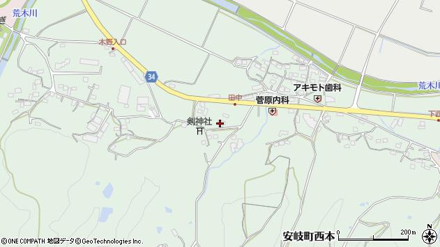 大分県国東市安岐町西本801周辺の地図