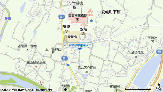大分県国東市安岐町下原2143周辺の地図