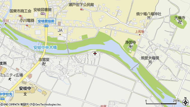 大分県国東市安岐町中園555周辺の地図