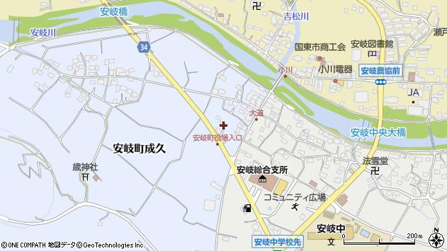 大分県国東市安岐町成久46周辺の地図