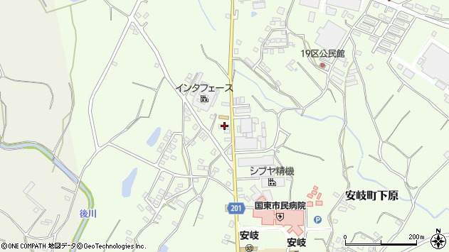 大分県国東市安岐町下原1384周辺の地図