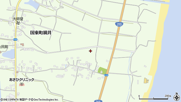 大分県国東市国東町綱井下綱井周辺の地図