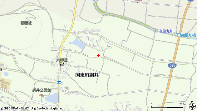 大分県国東市国東町綱井平尾周辺の地図