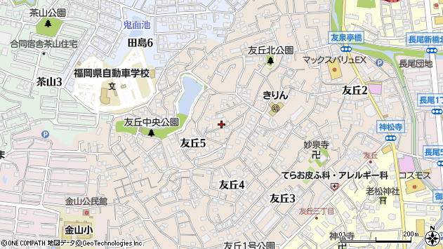 福岡県福岡市城南区友丘5丁目周辺の地図